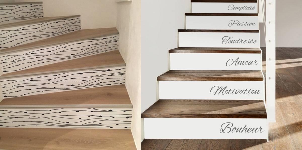 Contremarches d'escalier avec stickers de décoration