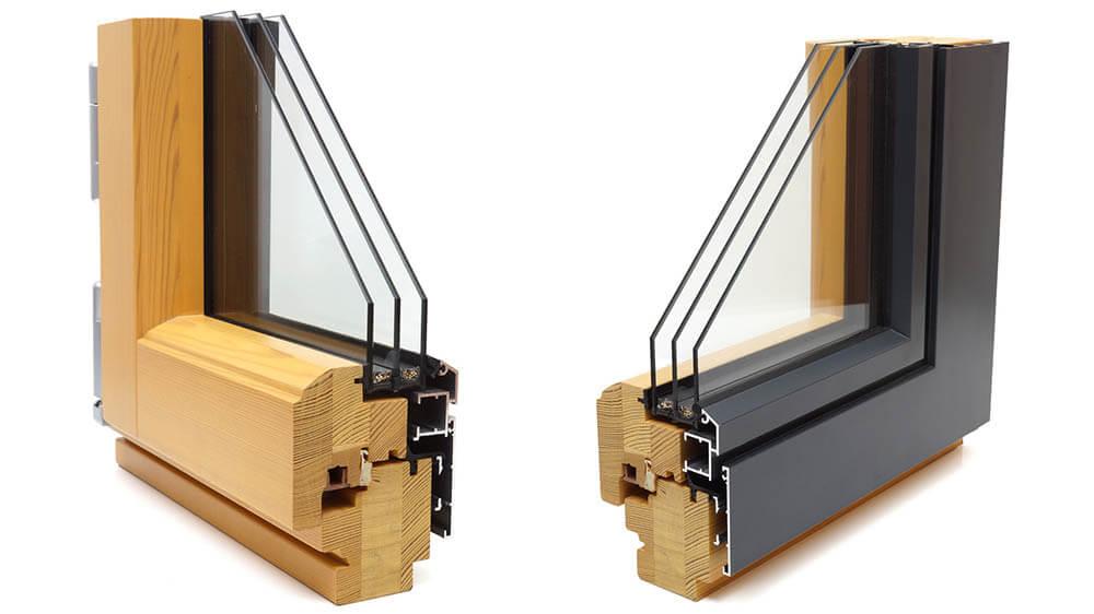 Détail d'une fenêtre mixte bois et alu
