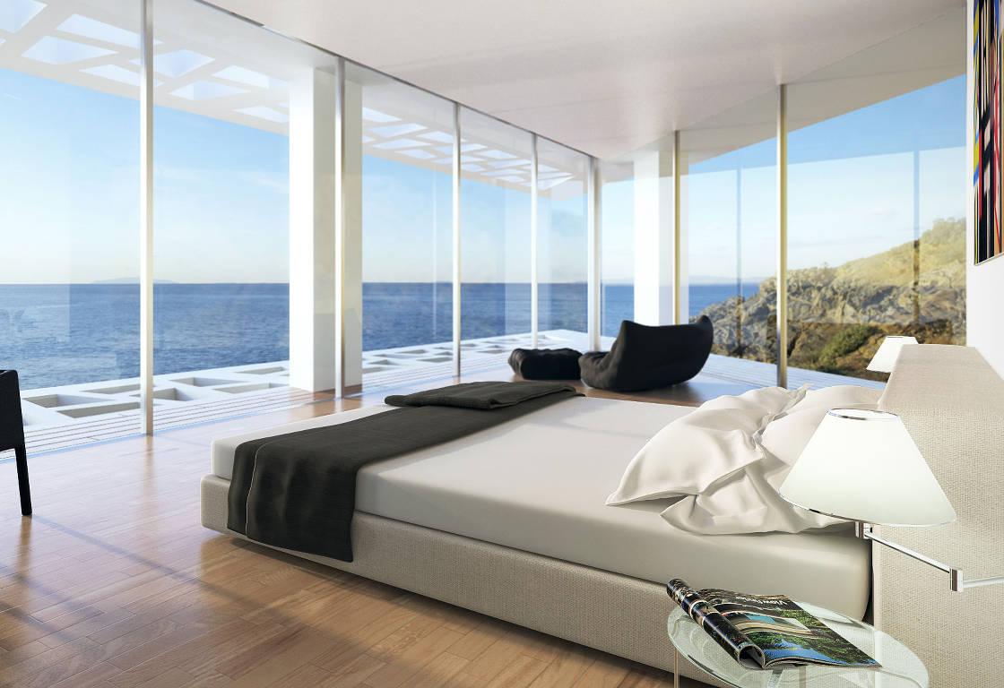 Fenêtre panoramique avec vue sur l'ocean