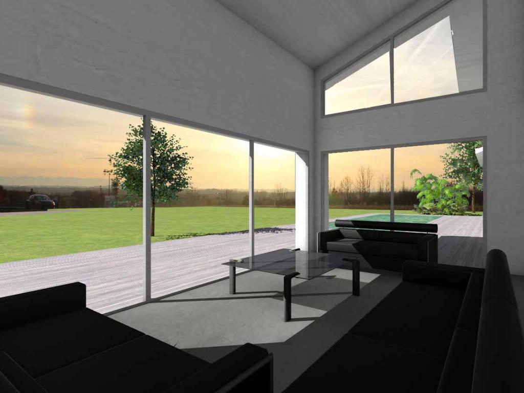 Fenêtre trapèze dans le salon d'une maison contemporaine