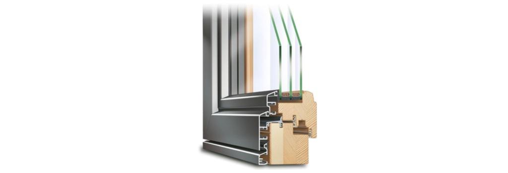 Profil de fenêtre mixte bois alu